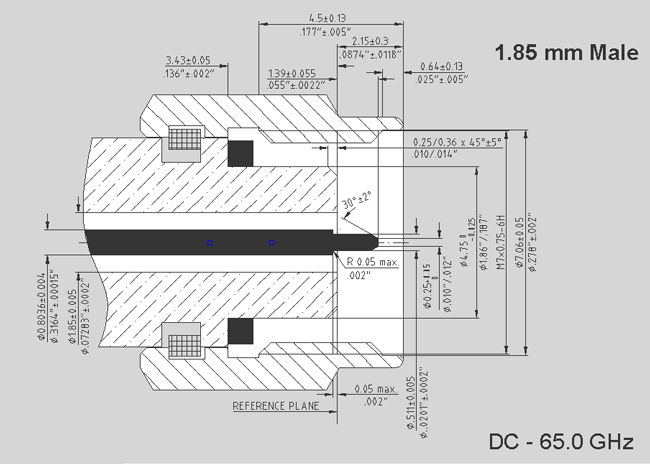 Interface Mating Dimensions of 1.85 mm Male Interface
